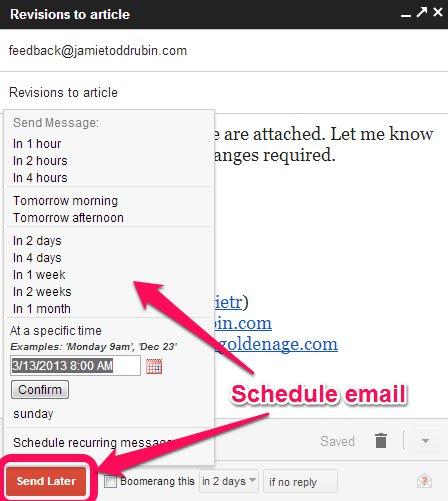 Schedule message