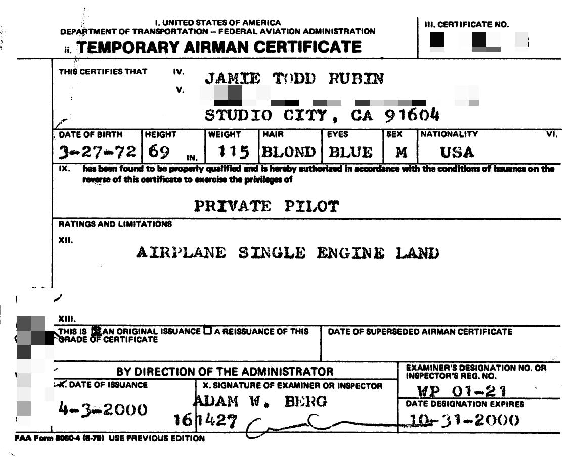 Airman certificate jamie todd rubin airman certificate 1betcityfo Images